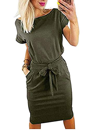 PALINDA Women's Striped Elegant Short Sleeve Wear to Work Casual Pencil Dress with Belt (S, Army Green1)