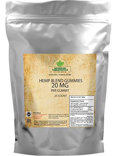 Hemp Gummies for Pain and Sleep– Hemp oil Infused Gummy Bears (20MG) 25 Count – 500MG Pouch