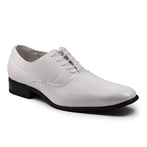 Delli Aldo M-19121 Men's Lace Up Smooth Classic Oxfords Dress Shoes, White, 8