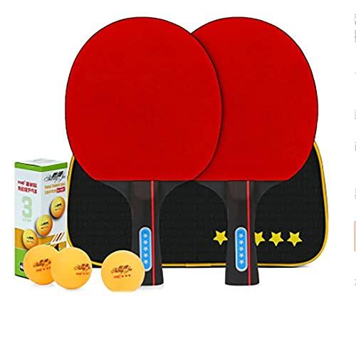 JIANGCJ bajo Precio. Juego de paletas de Ping Pong de Mesa - 2 Raquetas 3 Bolas Paquete de Tenis de Mesa Profesional Profesional | Raquetas Paquete for la Familia Play-E