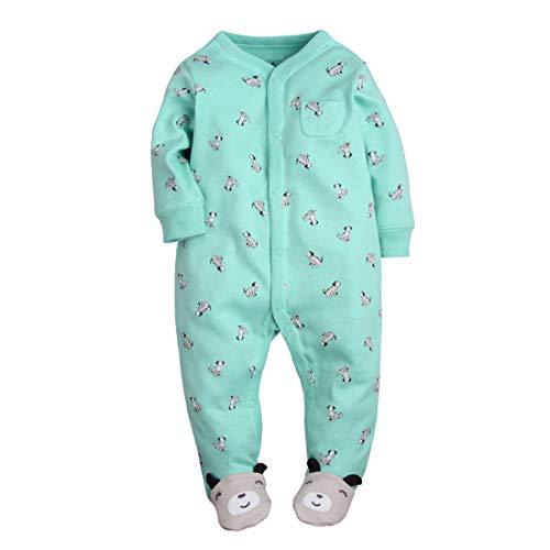 Amissz CARETOO Unisex Baby Schlafstrampler Bärchen, Baumwolle Pyjamas Cartoon Strampler, Blau, Gr.-9-12 Monate/Etikettengröße- 12M