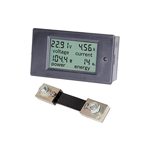 Spartan Power DC Meter Battery Monitor amp Multimeter 0100A 65V100VDC LCD Digital Display Comes with 100A Current Shunt