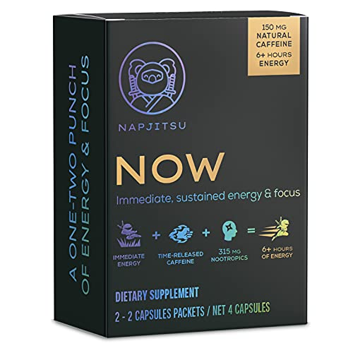 NAPJITSU Now Sustained Energy Supplement - 315mg of Nootropics with Caffeine - Crash-Free Brain Enhancer - 4 Natural Energy Pills (2 Servings)