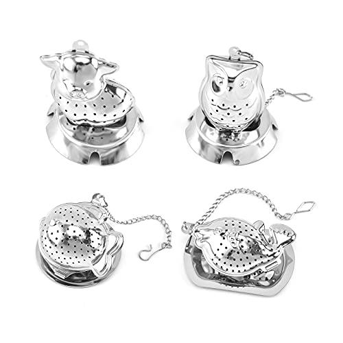 Hwtcjx Colador de té, filtro te, 4 piezas infusor te, Hecho de acero inoxidable, con gancho de cadena extendido y bandeja pequeña, seguro, para tazas de té, teteras (cerdos, búhos, pez globo,