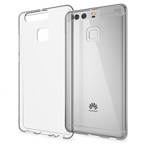 NALIA Cover Custodia compatibile con Huawei P9, Protezione Silicone Trasparente Sottile Case, Gomma Morbido Cellulare Ultra-Slim Telefono Protettiva Smartphone Bumper Guscio - Trasparente