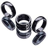 Hematite Ring, 3pcs Black Stone Magnetica Ansia Balance Chakra Della Radice di Ansia Genuina Ematite Anelli, Ematite Anelli Che Assorbono l'Energia Negativa Poi Pausa per le Donne Gli Uomini (#10)