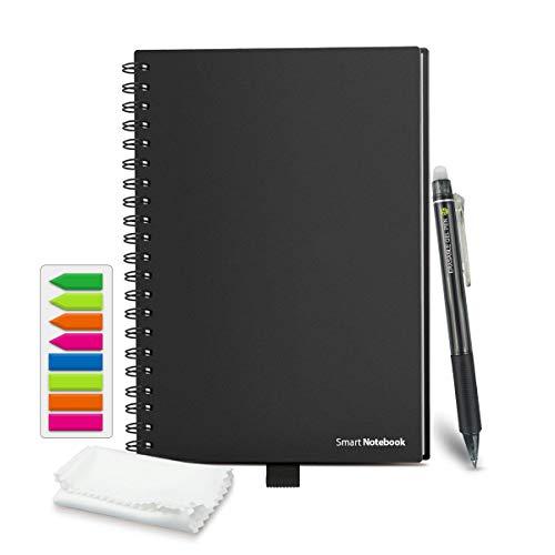 HOMESTEC Cuaderno Inteligente Reutilizable | Tamaño A5 (148x210) | Hojas borrables y adaptadas para escaneo a PDF mediante APP | Incluye Boli y Marcadores Adhesivos (Negro)
