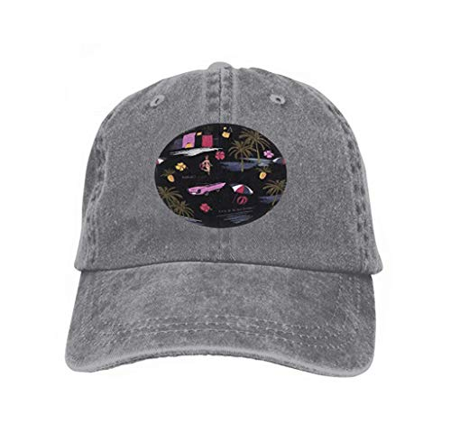 Vintage Trend Printing Cowboy Hat Fashion Baseball Cap for Men and Women Seamless Colorful Island Pattern Black Background Landscape Palm Trees Beach Ocean Hand Drawn Style Cool3165