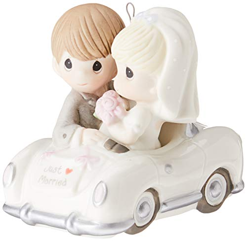 "Precious Moments, Christmas Gifts, ""Just Married"", Bisque Porcelain Ornament, #131008"