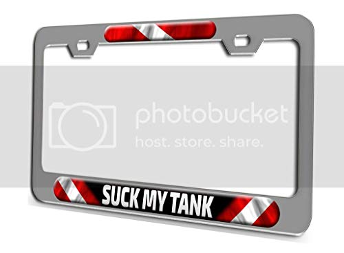 Makoroni - Suck My Tank Scuba Diving Ch 3D Metal License Plate Frame Auto SUV Truck Tag Holder, y69