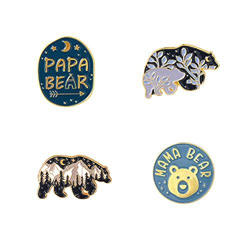 4Pcs Alloy Brooch Badge Pins Set Creative Cartoon Polar Bear Pins for DIY Backpacks Hats Cowboy Jackets Jewelry Student Toys Gifts