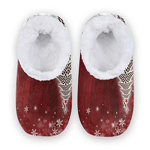Mnsruu Chaussons en bois avec motif sapin de Noël et flocon de neige, confortables pour chambre à coucher, chaussures antidérapantes pour femme 38-39
