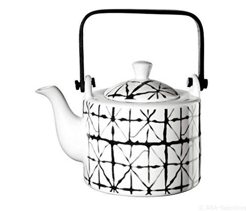 ASA 90901071 Maori - Teekanne mit Teesieb - Porzellan - schwarz/weiß - Ø 12 cm - Höhe 16,7 cm, 0,75l