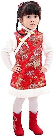 Hooyi Winter Chinese Style Girl Dress Cotton Sleeveless Kids Cheongsam Baby Girls Qipao Red product image