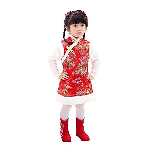 Hooyi Winter Chinese Style Girl Dress Cotton...