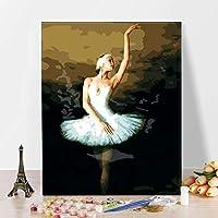 初心者、子供、バレエダンサーのための番号による大人の絵画デジタル絵画の贈り物のためのストレスの少ない16x20インチのリネンキャンバスアクリル(フレーム付き)