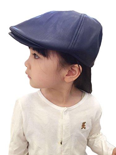 Bigood Enfant Casquette Visière Unisexe Chapeau de Béret PU de Outdoor de Soleil Plage Bleu