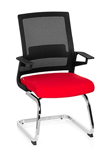 hjh OFFICE 732080 Besucherstuhl Inventor V Stoff/Netzrücken Schwarz Rot Stuhl Freischwinger mit...