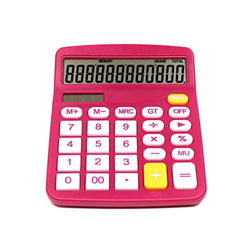 Wuxingqing Calculator 2 Stks Rose Rood Calculator 12 Cijfer Zonnerekenmachine Standaard Desktop Calculator Functie Elektronica School Examen Multifunctionele Functie Calculator