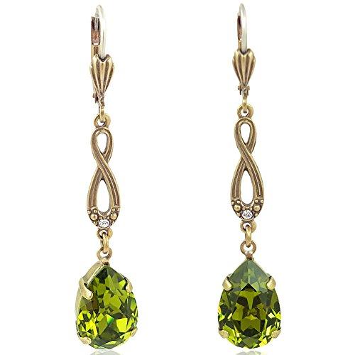Jugendstil Ohrringe mit Kristallen von Swarovski® Gold Grün NOBEL SCHMUCK