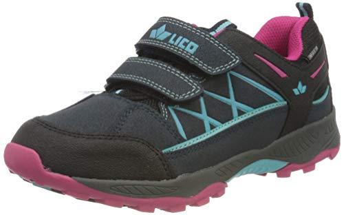 Lico Mädchen Griffin Low V Walking-Schuh, Blau (Marine/Türkis/Pink), 34 EU