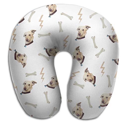 Hdadwy Pašėlęs putplasčio kaklo pagalvės pašėlęs šuns veidas su kaulų žaibo U formos kelionine pagalve ergonomiško kontūro dizaino plaunamas dangtelis lėktuvo traukinio automobilio autobusų biurui