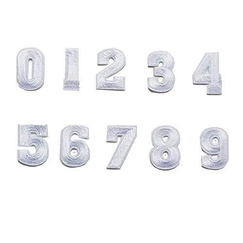 Aufnäher/Aufbügler / Aufbügler mit Zahlen 0-9, Weiß, 10 Stück