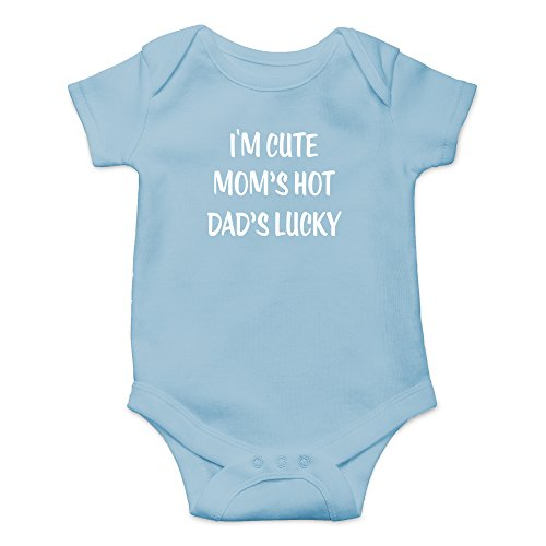 Crazy Bros Tees I'm Cute, Mom's Hot, Dad's Lucky Funny Cute Novelty Infant One-Piece Baby Bodysuit (Newborn, Light Blue)