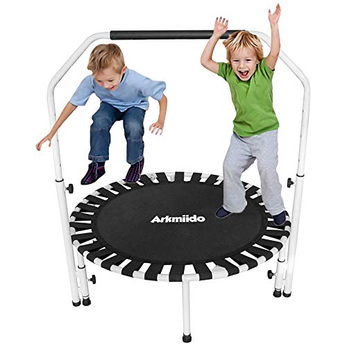 Arkmiido, trampolino per bambini con maniglia regolabile in altezza, trampolino pieghevole per interni ed esterni, per bambini e adulti, peso massimo 100 kg