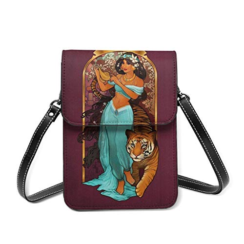 XCNGG Telefontasche Lightweight Leather Phone Purse for Women, Pr-incess Jasmine Beast Lady Small Crossbody Bag Mini Cell Phone Pouch Shoulder Bag
