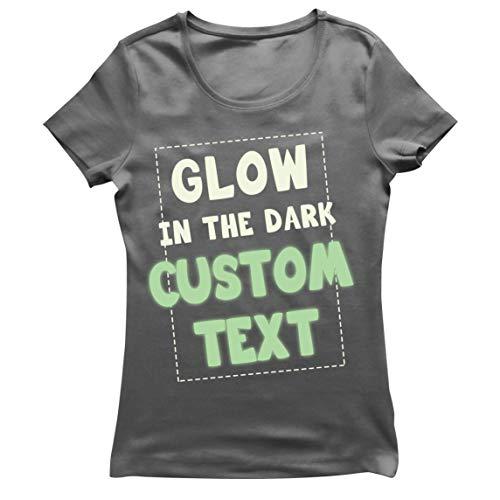 lepni.me Camiseta Mujer Brilla en la Oscuridad Texto Personalizado Lema Ilumina la Noche Prendas Personalizadas (M Grafito Glow in The Dark)