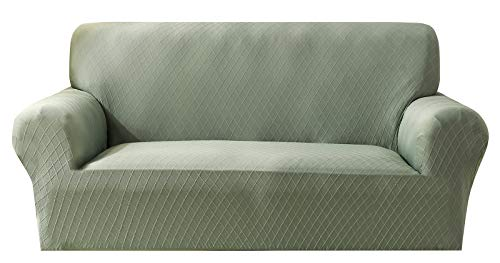 Stretch Soft Polyester Sofa Slipcover 1-Piece Diamond Jacquard Couch Cover with Non Slip Foam and Straps Underneath of Furniture, Washable Cushion Protector (Loveseat 57'-70', Bean Green)