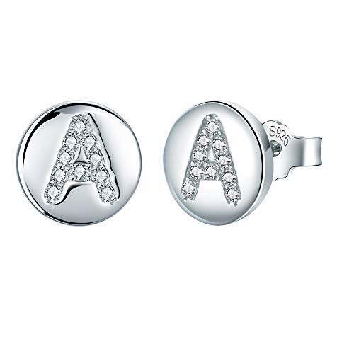 J.Endéar Initial Letter A Stud Earrings for Women Girls, 925 Sterling Silver Cubic Zirconia Earrings, Small Disc Alphabet Studs Customize Christmas Gifts
