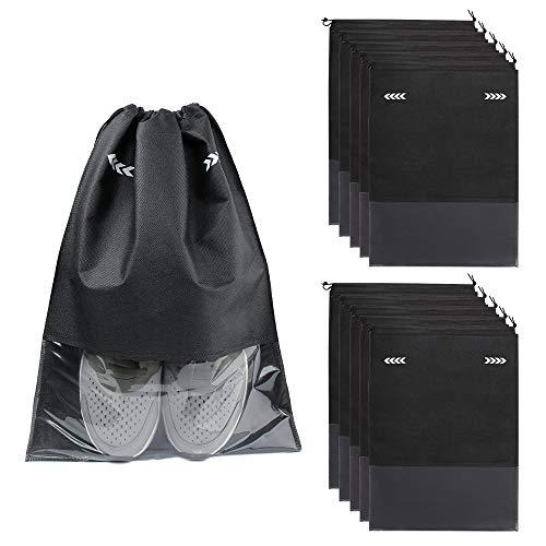 10 Pcs Bolsas de Zapatos Multifunción a Prueba de Polvo Bolsa Impermeable Telas no Tejidas Zapatos para Hombres y Mujeres con Ventana Transparente y Cordón(Raya)