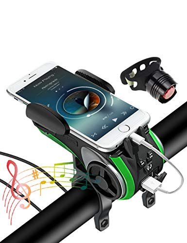 Bike Light with Waterproof Wireless Speaker Set,6 Functions Come with Bicycle Bell,Phone Holder,Speaker,Power Bank,TF Card and Flashing Light Suitable for Bicycle and Play Music On Motorcycle(Green)
