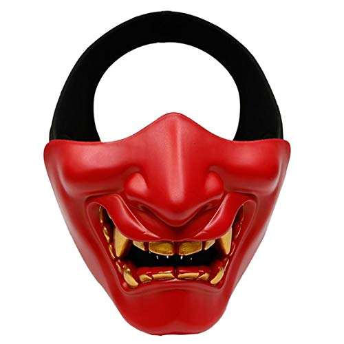 Il male mezza Cosyplay Viso Protector, costume di Halloween del demone mezzo Face Face Protector, Per Halloween Gioco strumento di protezione, Softair Viso Protector Rosso