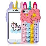 Mulafnxal Funda para iPhone 6/6S/7/8/SE 2020 4.7',Silicona Suave Vistoso Gracioso Diseño Lindo Fidget Cover Carcasa Antiestrés Moda para Chicas Niñas para iPhone 6/6S/7/8/SE 2020 (Color Unicorn)