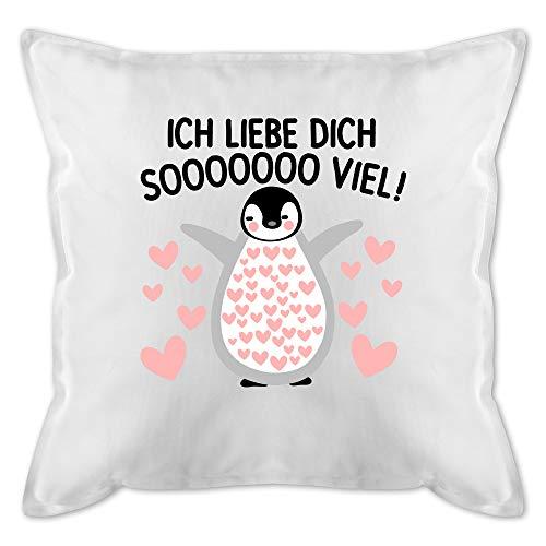 Shirtracer Valentinstag Kissen - Ich Liebe Dich Soooo viel! mit Pinguin - Unisize - Weiß - Pinguin Valentinstag - GURLI Kissen mit Füllung - Kissen 50x50 cm und Dekokissen mit Füllung