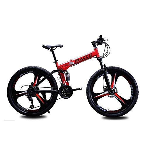 Dual Suspension Mountain Bikes,26' Folding Mountain Bicycle Bike 27-Speed transmission,equipped with dual shock absorbers Dual Disc Brake MTB,Red