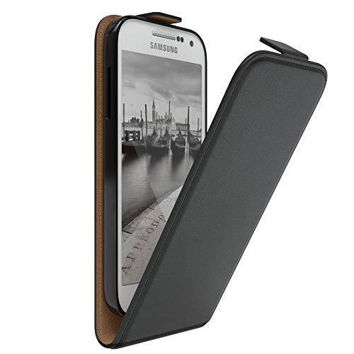 EAZY CASE Hülle kompatibel mit Samsung Galaxy S4 Mini Hülle Flip Cover zum Aufklappen, Handyhülle aufklappbar, Schutzhülle, Flipcover, Flipcase, Flipstyle Case vertikal klappbar, Kunstleder, Schwarz