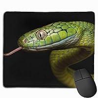 ヘビ 緑 黄 爬虫類 マウスパッド 運びやすい オフィス 家 最適 おしゃれ 耐久性 滑り止めゴム底付き 快適操作性 30*25*0.3cm