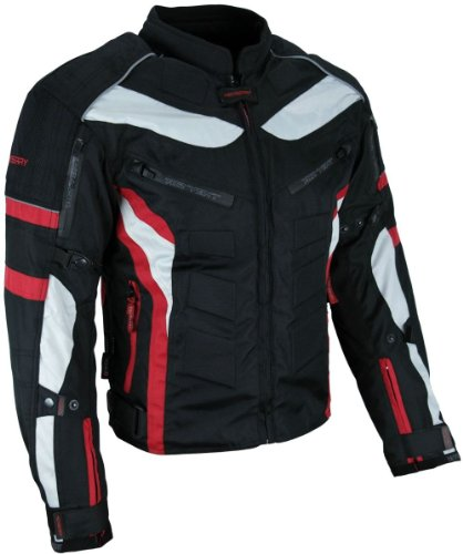 HEYBERRY Textil Motorrad Jacke Motorradjacke Schwarz Rot Gr. L