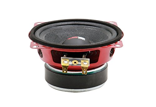 """DS18 PRO-X4M Loudspeaker - 4"""", Midrange, Red Steel Basket, 200W Max, 100W RMS, 8 Ohms - Premium Quality Audio Door Speakers for Car or Truck Stereo Sound System (1 Speaker)"""