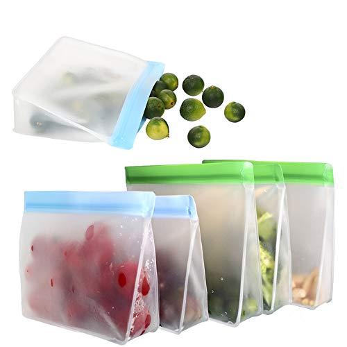 Lebensmittel Beutel Wiederverwendbare 6er-Pack PEVA Nachhaltige Sandwich Beutel mit Reißverschluss Extra Dicker BPA-Frei Auslaufsichere Gefrierbeutel für für die Organisation von Reise Häusern