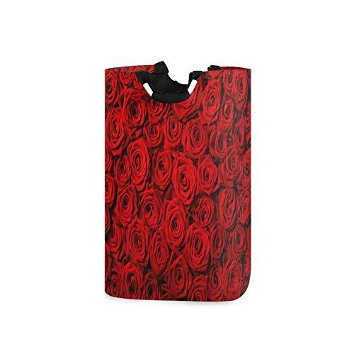 BGIFT Cesta plegable con asa impermeable doble grande para ropa sucia, con diseño de rosas rojas