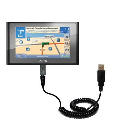 Gomadic Unique Coiled USB Charge and Data Sync Cable for The Mio Moov 580 – Charging and HotSync Functions with one Cable. Built with TipExchange