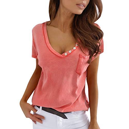 Ailnge T-Shirt Manica Corta Maglie Donna Scollo a V Camicetta Casual Sexy Loose Bluse Maglietta Estiva