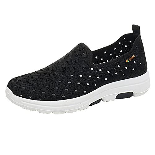 Mujer Zapatillas Casual Zapatos Deportivas Cómodos Fitness Atlético Paseo Correr Calzado Transpirable Ligero Deporte Sneakers Bambas Mujer sin Cordones(A05_Black,36)