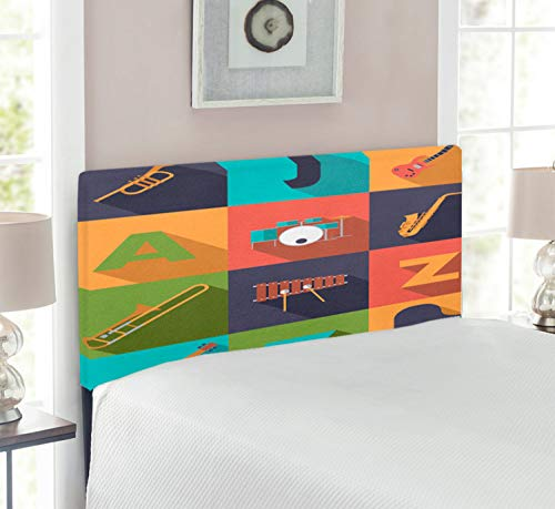 Ambesonne Music Headboard, Colorful All Jazz Equipment Set on Flat Design Funky Music Graphic Design, Upholstered Decorative Metal Bed Headboard with Memory Foam, Twin Size, Multicolor