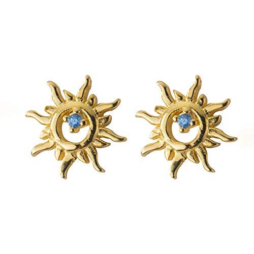 Richight sv925かわいいCZダイヤモンド太陽イヤリング、シンプルな小さな太陽のゴールドピアス、キラキラスターリングシルバーミニスタッドピアス、日常の小さなスタッドピアス